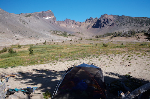 Campsite with a great view of Broken Tops Crater