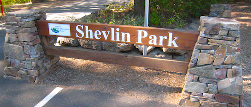 Shevlin Park entrance sign at the first parking lot directly off of Shevlin Park road