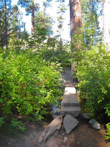Small log footbridge over a small tributary of Tumalo Creek