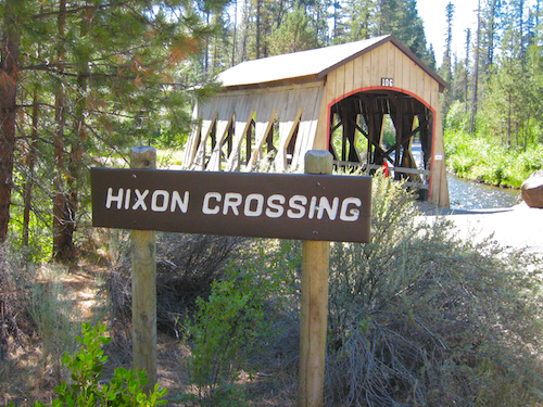 The Hixon Crossing covered bridge in Bend, Oregon's Shevlin Park