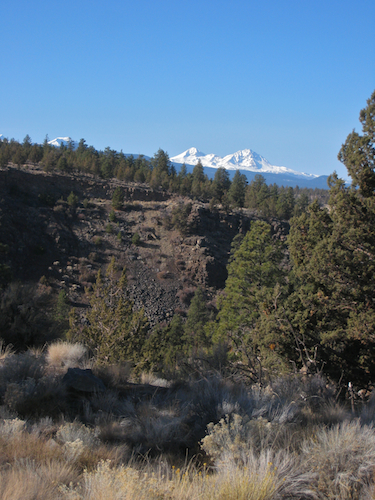 Middle and North Sisters high above the Deschutes River Canyon as seen from the River Trail