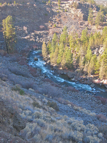 The Deschutes River as seen from high above on the Deschutes River Trail on the Northwest side of Awbrey Butte
