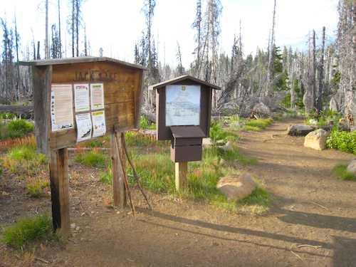The Jack Lake Trail Head which leads to Canyon Creek Meadows