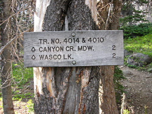 Trail signs pointing to Canyon Creek Meadow.