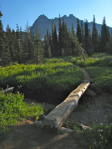 Footbridge in the Lower Canyon Creek Meadow with Three Fingered Jack in the background.