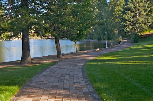 Paver walkway in Pioneer Park, Downtown Bend, Oregon