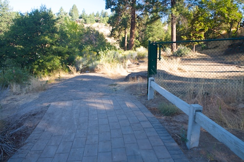 Temporary end of the Pioneer Park walkway, which is located across the Deschutes River from First Street Rapids Park.