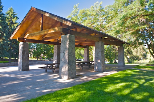 Picnic shelter in Pioneer Park, Bend Oregon
