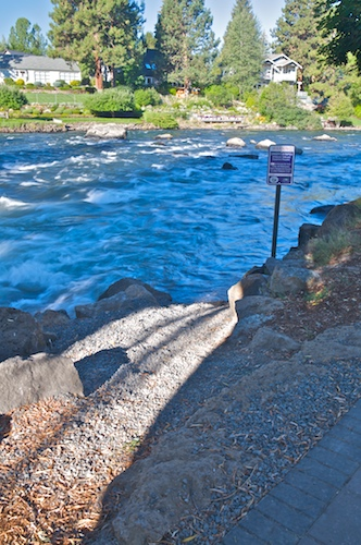 "White water ""put in"" on the east side of Bend's First Street rapids"
